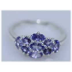 10.55 CTW TANZANITE RING .925 STERLING SILVER