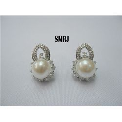 WHITE PEARL WITH CZ ANCIENT DESIGN SILVER EARRINGS; MET