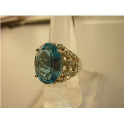 50.40 CTW BLUE TOPAZ RING .925 STERLING SILVER