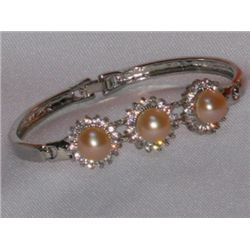 PEACH PEARL WITH CZ BANGLE SILVER BRACELET *** METAL: S
