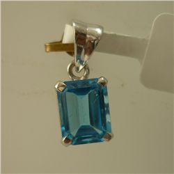 9.50 CTW BLUE TOPAZ PENDANT .925 STERLING SILVER