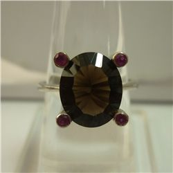 19.25  CTW RUBY AND SMOKEY TOPAZ RING .925 STERLING SIL