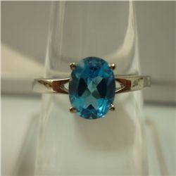 10.00 CTW BLUE TOPAZ RING .925 STERLING SILVER