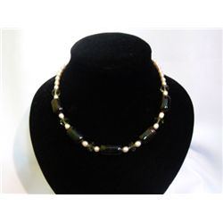 9-EYE STONE AND PEARL NECKLACE; 18 INCH; PHILIPPINE PEA