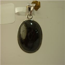 23.75 CTW BLACK STONE PENDANT .925 STERLING SILVER