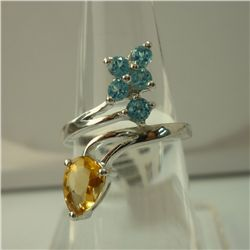 17.25 CTW SEMI PRECIOUS RING .925 STERLING SILVER