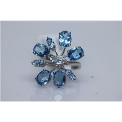 32.25 CTW BLUE TOPAZ RING .925 STERLING SILVER