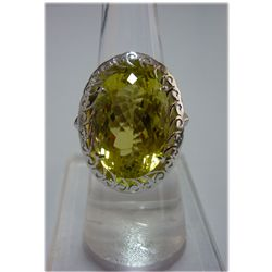 43.00 ctw Lemon Topaz Oval RING .924 STERLING SILVER