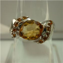 20.25 CTW CITRINE RING .925 STERLING SILVER