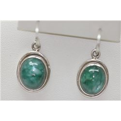 34.05 CTW EMERALD CABUSHION EARINGS .925 STERLING SILVE
