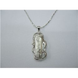 WHITE KISHI PEARL PENDANT SILVER NECKLACE; METAL: SILVE