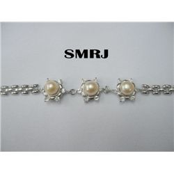 3 PEACH PEARLS WITH CZ SILVER BRACELET *** METAL: SILVE