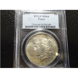 1921 SILVER PEACE DOLLAR, PCGS MS-64