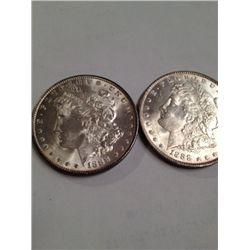 2 BU 1888 MORGAN SILVER DOLLARS, MS