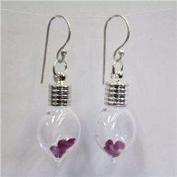 Heart Glass Earrings with 2ct Natural Ruby from Africa - 107RUBE
