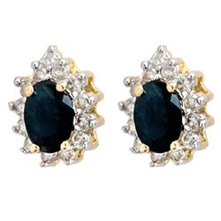 Genuine 5.46 ctw Sapphire & Diamond Earrings 14k Gold