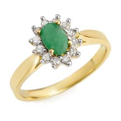 Genuine 0.51 ctw Emerald & Diamond Ring 10K Yellow Gold