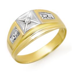 Natural 0.12 ctw Diamond Men's Ring 10K Yellow Gold