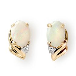 Genuine 1.03 ctw Opal & Diamond Earrings Yellow Gold