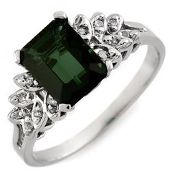 Genuine 2.12 ctw Green Tourmaline & Diamond Ring 10K Gold