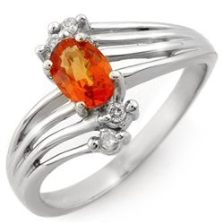 Genuine 0.80ctw Orange Sapphire & Diamond Ring 10K Gold