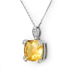 Genuine 5.1 ctw Citrine & Diamond Necklace White Gold
