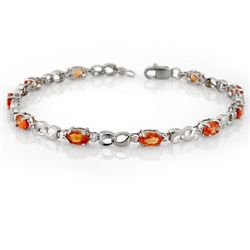 Genuine 3.51ctw Orange Sapphire & Diamond Bracelet Gold