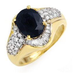 Genuine 3.13 ctw Sapphire & Diamond Ring 14K Yellow Gold