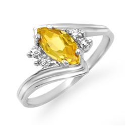 Genuine 0.48 ctw Citrine & Diamond Ring 10K White Gold