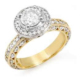 Natural 2.0 ctw Diamond Ring 14K Multi tone Gold