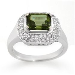 Genuine 2.40ctw Green Tourmaline & Diamond Ring Gold