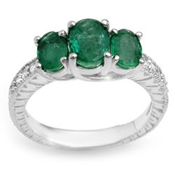 Genuine 2.50 ctw Emerald & Diamond Ring 10K White Gold
