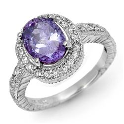 Genuine 2.90ct Tanzanite & Diamond Ring 14K White Gold