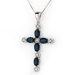 Genuine 3.15 ctw Blue Sapphire & Diamond Necklace Gold