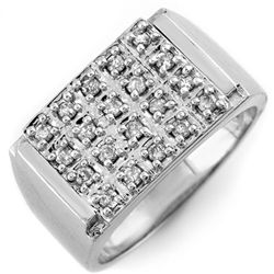 Natural 0.50 ctw Diamond Men's Ring 10K White Gold