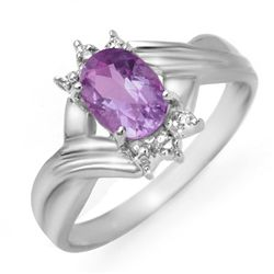 Genuine 0.79ctw Amethyst & Diamond Ring 10K White Gold