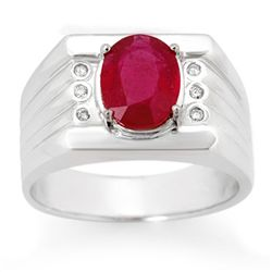 Genuine 3.06 ctw Ruby & Diamond Men's Ring 10K Gold