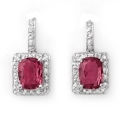 Genuine 3.50ctw Pink Tourmaline & Diamond Earrings Gold