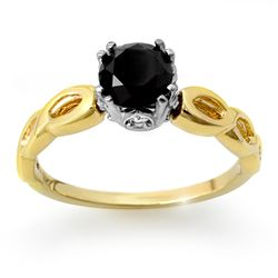 Natural 1.45 ctw Black Diamond Ring 14K Multi tone Gold