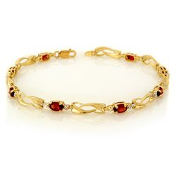 Genuine 2.02 ctw Garnet & Diamond Bracelet Yellow Gold