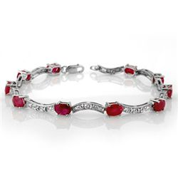 Genuine 4.25 ctw Ruby & Diamond Bracelet White Gold