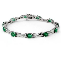 Genuine 6.11 ctw Emerald & Diamond Bracelet 14K Gold