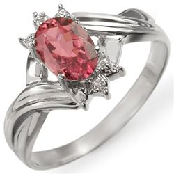 Genuine 0.79 ctw Pink Tourmaline & Diamond Ring Gold