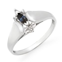 Genuine 0.33 ctw Sapphire & Diamond Ring 10K White Gold
