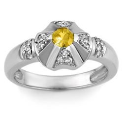 Genuine 0.37 ctw Yellow Sapphire & Diamond Ring 14k Gold