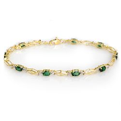 Genuine 2.80 ctw Emerald Bracelet 10K Yellow Gold