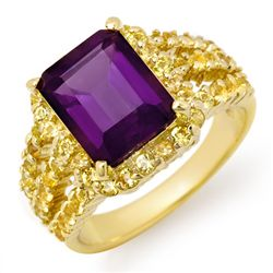 Genuine 5.5 ctw Yellow Sapphire & Amethyst Ring 10K Yellow Gold