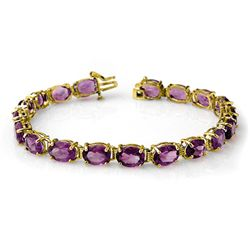 Genuine 22.6 ctw Amethyst Bracelet 10K Yellow Gold
