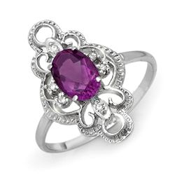 Genuine 0.80ctw Amethyst & Diamond Ring 10K White Gold