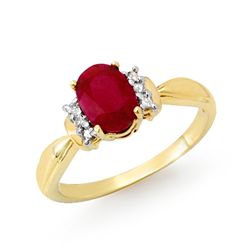 Genuine 1.26 ctw Ruby & Diamond Ring 10K Yellow Gold